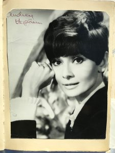 An autograph of Audrey Hepburn who had visited the Le Coucou Restaurant in Montreux.