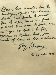 A thank you letter written by a celebrity that had been greeted by the Le Coucou Hotel in 1976
