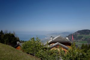 One of the most beautiful mountain terrace in the Montreux region. View of the the Lake Geneva.
