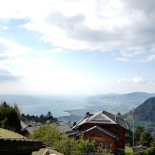 View of the Lake Geneva as seen from the Le Coucou Hotel and Restaurant in Montreux.