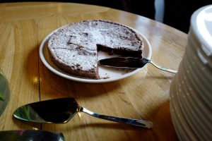 Delicious homemade chocolate pie at the Le Coucou Restaurant Hotel in Montreux.