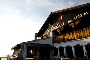 The facade of the Le Coucou Hotel and Restaurant which is located 1150 meters above sea level.