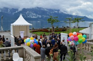 A fest near the Lake Geneva at Caux Caux/Montreux region. Balloons and guests having fun.