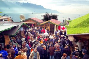 Visitors discover the most beautiful Christmas market in Montreux, Switzerland.