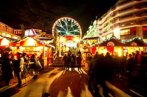 Night at the Christmas market in Montreux where there are 120 decorated cabins.