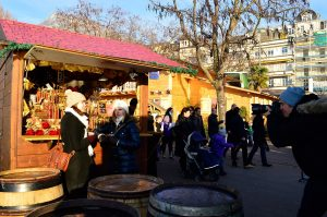Tourists discover the Christmas market with the 120 decorated cabins in Montreux.