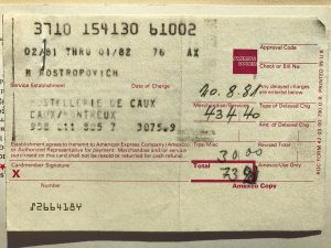 A receipt of payment by American Express credit card in the year of 1981.