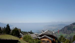 Panoramic view of Lake Geneva as seen from Le Coucou Hotel Restaurant in Caux - Montreux.