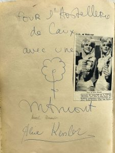 An autograph of Alice Kesler a celebrity of Switzerland, who had visited the Le Coucou Hotel.