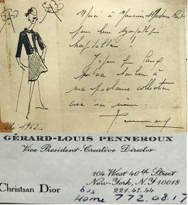 A thank you letter written by a celebrity who had visited the Le Coucou Hotel in the year 1962.
