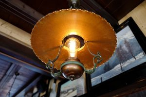 A ceiling lamp at the Le Coucou Restaurant in Montreux, Switzerland.