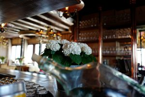 White geranium at the Mountain Bar at the Le Coucou Restaurant in Montreux.