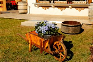 Flowers in a traditional farmer's stroller at the Le Coucou Hotel and Restaurant.