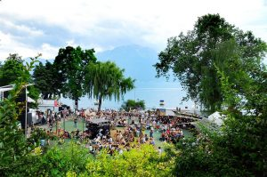 Panoramic view of the region around the Lake Geneva in Montreux, which is full of tourists.