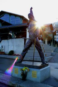 "Statue of Freddie Mercury the emblematic singer of the ""Queen"" band, in Montreux."